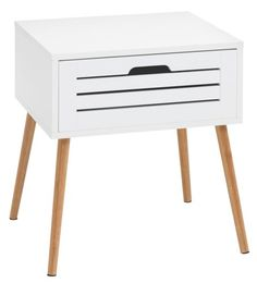 Bedside Table BROBY 1 drawer bamboo / white | JYSK