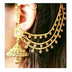 India Jewelry, Ear Jewelry, Jewelery, Gold Jewelry, Ruby Jewelry, Chain Jewelry, Indian Wedding Jewelry, Bridal Jewelry, Ear Chain