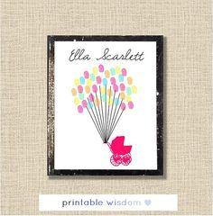 Baby Shower guest book fingerprint printable guestbook digital print wall art decor, nursery, keepsake, newborn gift