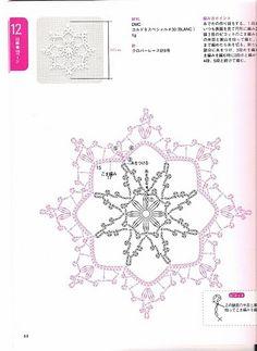 D Crochet Lace Japan - - Picasa Web Albums Crochet Snowflake Pattern, Crochet Stars, Crochet Motifs, Crochet Snowflakes, Crochet Diagram, Thread Crochet, Cute Crochet, Crochet Lace, Crochet Patterns