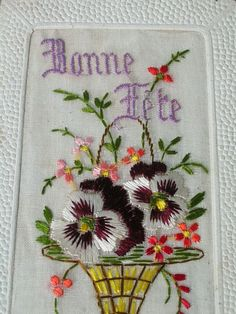 Bonne fête Women In France, Picture Cards, Vintage Embroidery, Vintage Shabby Chic, Vintage Cards, Needlework, Diy And Crafts, Greeting Cards, Crafting