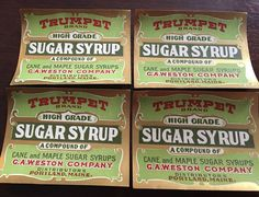 Vintage Can Labels Trumpet Brand Maple Syrup Label Portland Maine New England  | eBay