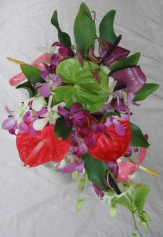 Hawaiian flowers sent to any US state. Flower leis, loose orchid blooms and Hawaiian gifts. Graduation leis are our specialty. Hawaiian Wedding Flowers, Tropical Wedding Bouquets, Tropical Flowers, Bridal Bouquets, Hawaiian Rainbow, Graduation Leis, Rainbow Wedding, Flower Arrangements, Orchids