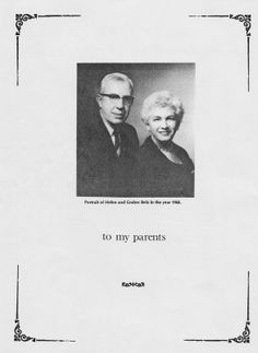 Dedication of the book to my parents. To My Parents, All Family, Baltimore, Genealogy, The Book, Portrait, Books, Movies, Movie Posters