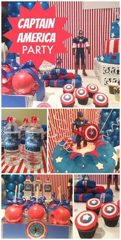 Captain America makes an appearance at a boy birthday party with cupcakes, decorations and a dessert table.  See more party ideas at CatchMyParty.com!