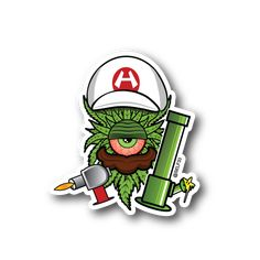 Fire Mario Dab Clops Sticker | Vinyl Stickers | Marijuana Stickers | Clear Stickers