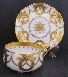 Dresden Demitasse Cup Saucer Helena Wolfshon Gold Paste Enamel Beads c.1886