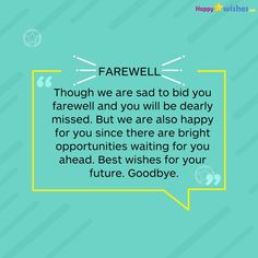 Funny Text Messages Ringtones 48 Best Wishes for Your Future Good bye Senior Farewell Speech For Friends, Farewell Quotes For Colleagues, Goodbye Quotes For Coworkers, Best Farewell Quotes, Farewell Poems, Good Wishes Quotes, Wish Quotes, Farewell Card, Farewell Message To Boss