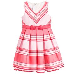 Bonnie Jean SS 2016 ***  Pink Coral Striped Dress with Bow at Childrensalon.com
