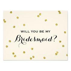 Gold Glitter Confetti | Bridesmaid Card
