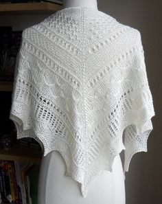 Mirabelle Texture Sampler Shawl pattern by Zehava Jacobs. malabrigo Sock, Natural color.