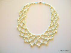 #Netted Pearl and #Aqua Seed Bead   #Choker. $35.00, via Etsy.
