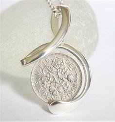 gift box 1966 53rd Birthday Lucky Sixpence Key Charm Keyring Wedding England