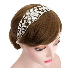 Wedding Bridal Delicate Rhinestone Flower Headpiece Headband Bridesmaid Hair Accessories (Ivory Ribbon) -- More info could be found at the image url.