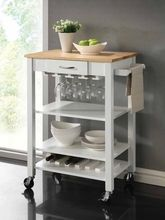 Coaster 910025 Solid Rubberwood White And Natural Kitchen Cart