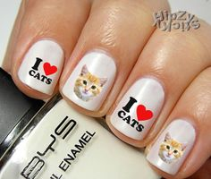I Love CAT .. 20 Quality Nail Art Decals Water Slide/Transfer by HipZySticKy