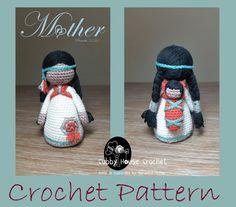 Crochet PATTERN. Mother NOVA wearing her Baby LALLO. Little girl's pattern also available.