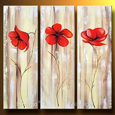Santin Art-Poppies on a pearly background-Modern Canvas Art Wall Decor Abstract Floral Oil Painting Wall Art Wall Decor Home Decorations Framed and Ready to Hang Santin Art