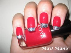 French mani with nail foil