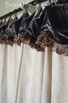 Cafe curtain with velvet cuff and ribbon fringe | Beyond the Screen Door
