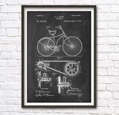 Bicycle Patent Wall Art Poster by PatentPosters on Etsy