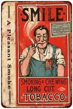 Smile Long Cut Tobacco Vintage Look Reproduction Metal Sign 8 x 12 8120430