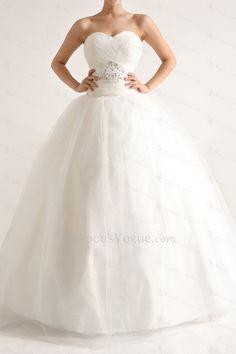 Net and Satin Strapless Floor Length Ball Gown Wedding Dress - Focus Vogue
