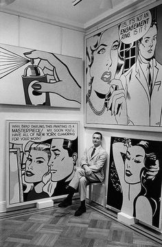 ROY LICHTENSTEIN, Artist photographed next to his works at the Leo Castelli Gallery, New York, 1962. Photographer Bill Ray. / Monroe Gallery