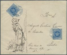 Angola - Br Angola: 1884, ANGOLA - THE ONLY RECORDED ILLUSTRATED 'CROWN' ISSUE COVER OF A PORTUGUESE COLONIE; Extremely fine 15 J