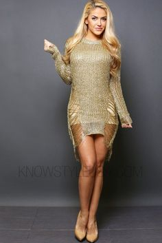 """- Metallic Textured Long Sleeve Tunic - Both Side Bottom Shredded - Undergarments Not Included - 100% Polyester - Dry Clean - Model is wearing a size SMALL - Model body measurements: Height 5'4"""" / Wei"""