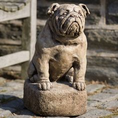 Campania International Petey The Bulldog Cast Stone Garden Statue Alpine Stone - A-317-AS