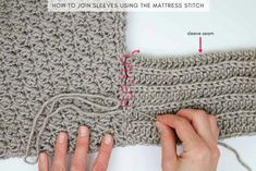 How to seam crochet sweater sleeves using the mattress stitch. In Part 2 of the Habitat Cardigan free crochet pattern, we'll add the ribbed collar and sleeves to complete this very simple flowy sweater featuring Lion Brand Heartland yarn. Diy Crochet, Hand Crochet, Knitting Patterns, Crochet Patterns, Lion Brand, Black Crochet Dress, Crochet Cardigan Pattern, Knit Cardigan, Crochet Slippers
