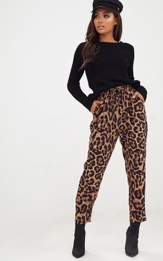 Brown Leopard Print Casual Trouser