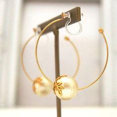 MiyabiGrace: Popular in Japan! Light Beige Cotton Pearl Hoop Invisible Clip on Earrings ✿