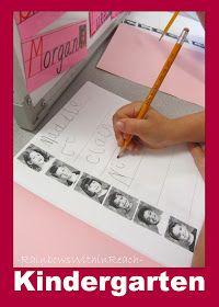 photo of: Kindergarten writing center using student names, Kindergarten fine motor