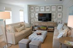 serene living room with art around tv