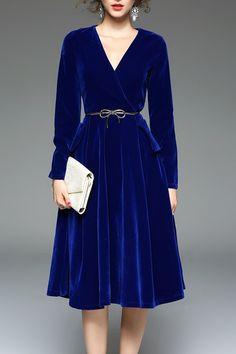 Long Sleeve Velvet Midi Dress