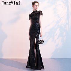 514ccb23c JaneVini Sparkly Black Sequins Long Bridesmaid Dresses Mermaid High Neck  Sleeveless Zipper Back Floor Length Vestido