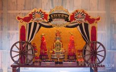 This glamorous Circus Themed Dessert Table is straight out of the pages of WedLuxe. It's full of glitz, glamour, and gold with a dash of fun! I love the gorgeous cake and the cleaver ice crea…