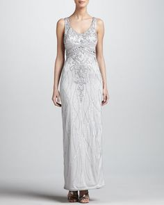 I HAVE A FEW DOZEN OF HER DESIGNS, LOVE HER ~~~  Beaded Satin Gown by Sue Wong at Neiman Marcus.
