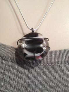 Wire Wrap Pendant Necklace-Black Storm on Etsy, $18.00