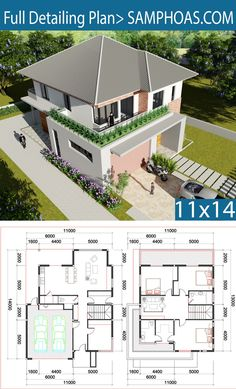 Sketchup Villa Design Two Stories House with 3 bedroom Free House Plans, Small House Floor Plans, Beach House Plans, Home Design Floor Plans, Modern House Plans, Free House Design, Modern House Design, Architecture Design, Villa Plan