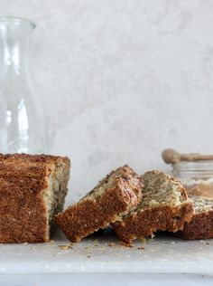 almond butter roasted banana bread I howsweeteats.com- with greek yogurt, olive oil, and 1/2 c almond flour