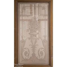 Architectural | Architectural Antiques | Antique Doors/Windows | Antique Etched Glass Interior Door | www.inessa.com