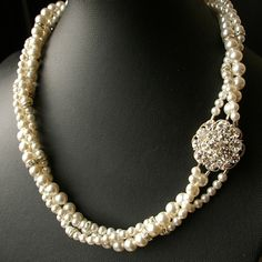Vintage Style Bridal Wedding Necklace,Twisted Pearl Bridal Necklace, Pearl Wedding Jewelry, Statement Necklace, ELIZABETH Collection. $118.00, via Etsy.