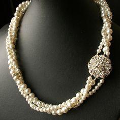 Vintage Bridal Wedding Necklace,Twisted Pearl Bridal Necklace, Ivory White Pearl Necklace, Rhinestone Pendant, ELIZABETH Collection. $118.00, via Etsy.