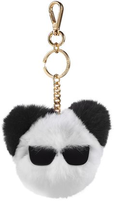 Nothing says playful luxury like a rabbit fur keychain from Karl Lagerfeld - and this black and white accessory is sure to catch stares with its too-cool sunglasses motif Couture Accessories, Handbag Accessories, Bling Purses, Fur Keychain, Purse Strap, Cool Sunglasses, Rabbit Fur, Things To Buy, Karl Lagerfeld
