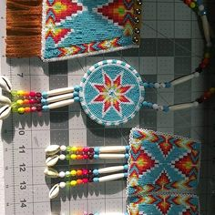 Another picture of a set I made. It went to Colorado. #beadwork #beading #nativeamericanbeadwork #powwow