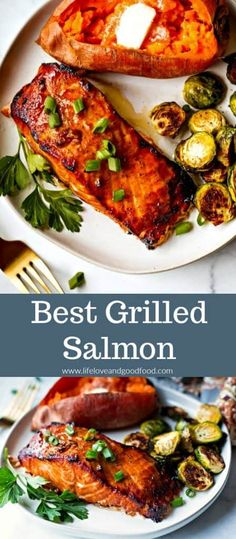 Best Grilled Salmon - Perfectly grilled salmon with a slightly sweet and smoky flavor that's a great weeknight meal! Best Grilled Salmon - Perfectly grilled salmon with a slightly sweet and smoky flavor that's a great weeknight meal! Grilling Recipes, Seafood Recipes, Cooking Recipes, Healthy Recipes, Grilling Ideas, Healthy Foods, Seafood Meals, Smoker Recipes, Healthy Dishes