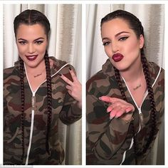Having fun: Khloe posted a snap Tuesday of her new braids, thanking her make-up artist for...